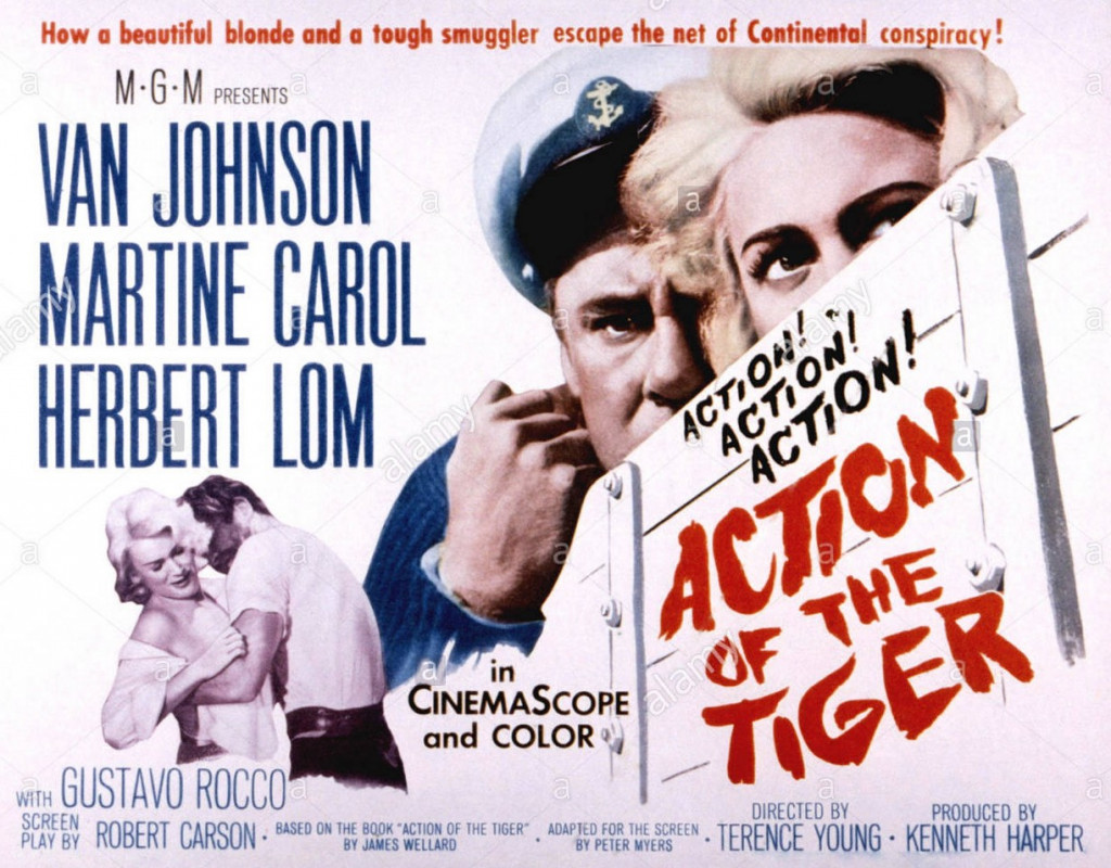 ACTION OF THE TIGER, Van Johnson, Martine Carol, 1957